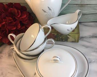Fukagawa Arita 706 Tea Set for Four Mid Century Modern Teapot Creamer Sugar Snack Plates Cups Stunning White Platinum