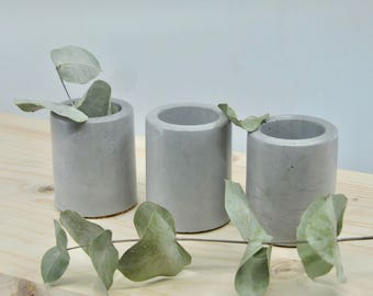 Grey concrete mini pots TRIO, set of 3 mini concrete vessels, succulent planters, cactus pots