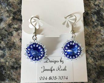 Beaded Rivoli Earrings - Sapphire blue and white