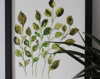 Botanical Print Leaves Print Leaves Wall Art Abstract Art Plant Print Watercolor Art Walldecor Abstract Art Archival Art Print Minimalism