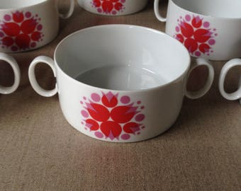 Set of 6 Thomas Germany soup cups c1960s-70s