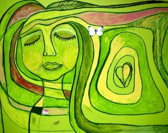 Dreaming Woman Original Painting 50x70 cm