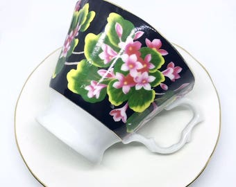FREE SHIPPING - Cheeky China, CUSTOM!! Black and Pink Floral Tea Cup & Saucer