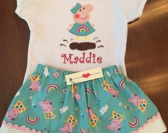 Custom embroidered Peppa Pig birthday shirt, Peppa muddy puddles shirt, Peppa Pig birthday outfit, Peppa Pig skirt, peppa pig outfit