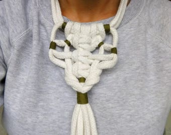 White Modern Necklace, Rope Macrame Necklace, Long Macrame Necklace, Cotton Rope Knot Necklace, Macrame Jewelry