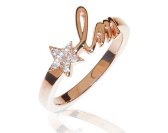 Initial Letters Ring 18K Rose Gold