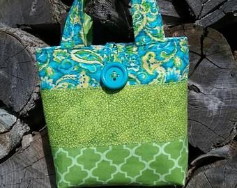 Little girls purse, green and blue little girls purse, little girls handbag, little girls tote bag