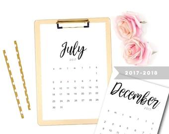 Printable Calendar,  2018 Printable Calendar, Printable Calendar,  Printable PDF Calender, Desk Calendar, 2017 - 2018 Calendar