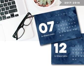 Navy + White Watercolor 2017 - 2018 Printable Calendar,  2018 Printable Calendar, PDF Calendar, Desk Calendar, 2018 Printable Calendar
