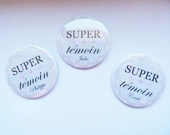 "Set of 2 big badges wedding ""Great best man"""