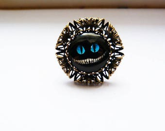 """Large Adjustable ring """"Alice's cat"""""""