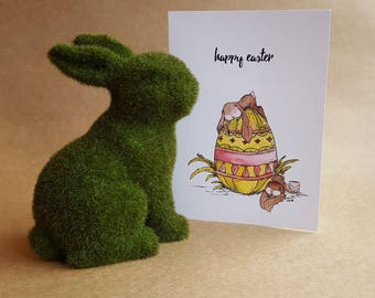 Happy Easter - Bunnies/Easter Card/Watercolor/Blank Easter Card/Bunny Card/Easter Bunny Card/Easter Egg Card/Spring Art/Peter Cottontail