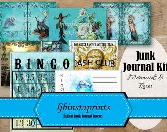 Mermaid Junk Journal, DIY Junk Journal Kit, Mermaid and Roses Journal Kit, Instant Download