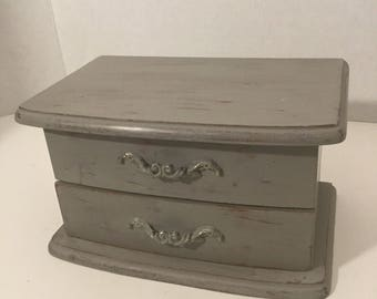 Small Vintage Wooden Jewelry Box Painted And Distressed