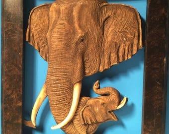 Vintage frame -Elephants -Elephant Picture Frame With Hooks-Wood Frame.
