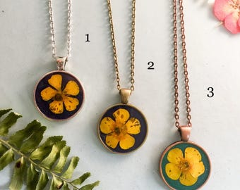 Real Buttercup(#2) Flowers Preserved in Resin, flower pendant necklace listing for #2 bronze pendant and necklace
