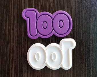 Number 100 Cookie Cutter and Stamp