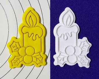 Decorated Candle Cookie Cutter and Stamp