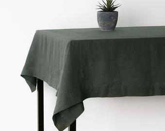Green Large Linen Tablecloth,Christmas Linen Table Cloth,Large Wedding  Tablecloth,Table Linens