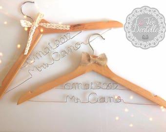 Hanger personalized double lines wood wedding