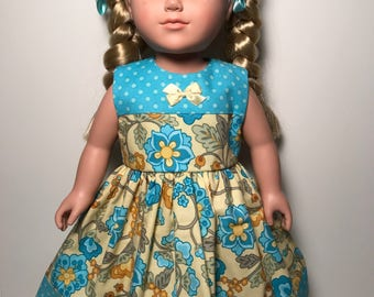 """Aqua and yellow floral dress for 18"""" doll"""