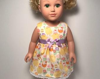"Baby chicks Easter dress for 18"" doll"