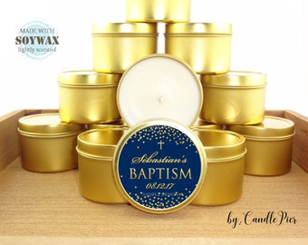 12 ct Dark blue and gold baptism favors, 4 oz tin candles, personalized soy candles, baby boy baptism, baptism candle favors, dedication
