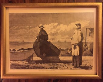 Winslow Homer Woodblock Engraving of Dad's Coming