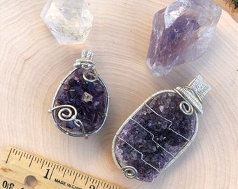 Amethyst Druzy Wire Wrapped Pendant