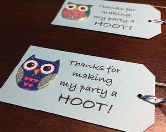 Owl tags, owl thank you tags, thank you for making my party a hoot tags, Owls favor tags, owl goodie bag tags, owl lover gift tags - 6/order