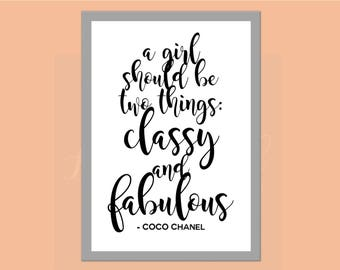 Coco Chanel // Inspirational Quote // Wall Art // Home Decor // Bedroom Dressing Room Ideas // Two Things Classy And Fabulous