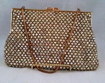 Vintage Rhinestone Evening Bag Purse c.1950