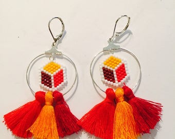 Earrings cube miyuki and tassels