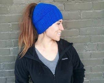 Blue Messy Bun Beanie; Blue Messy Bun Hat; Kentucky messy bun beanie; messy bun hat