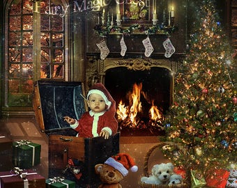 2 Christmas digital backgrounds  with tree, fireplace and gifts, 2 backdrop versions with and without trunk , for composite phototography .