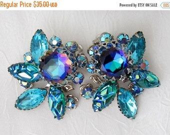 SALE Vintage JUDY LEE Rhinestone Earrings, Statement , Aqua Blue , Aurora Borealis , TheKeepDrawer