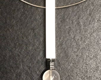 Silver pendant with rose quartz crystal ball and hematite