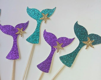 Mermaid cupcake toppers, under the sea cupcake toppers, mermaid decoration, purple mermaid, fiesta de sirenas.
