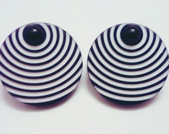 Round Black and White Op Art Striped Clip Earrings