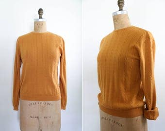 Vintage Cotton Marigold Cable Knit Pullover Sweater