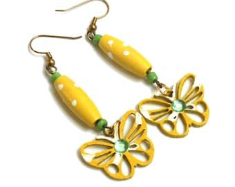 Yellow Butterfly Wood Earrings, Wooden Jewelry, Handmade Earrings, Happy Boho earrings, Eco Gift for her