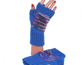 Ladies' Woman's Blue Fingerless Gloves, Wristwarmers, Gift for Her, Valentine's Mother's Day Present
