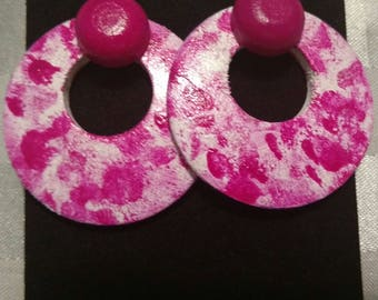 Pink (Magenta) color splat earrings