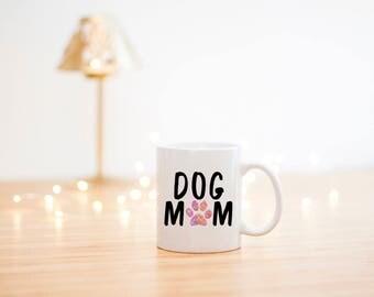 Dog Mom Coffee Mug- Funny Dog Mug- Dog Lover Gift- Pet Lover Gift- Mom Gift- Dog Mom Gift- Dog Coffee Cup- Paw print Coffee Mug-watercolor