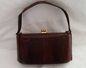 Vintage Brown Lizard Look Purse