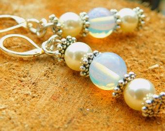 Moonstone and  Swarkoski pearl drop earrings