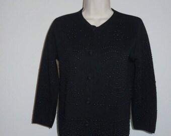 Vintage 1960's Huddlespun Black Beaded Sweater ~ Black Wool Cardigan Sweater ~ Beaded  Wool Sweater ~ Black Sweater ~ Black Cardigan