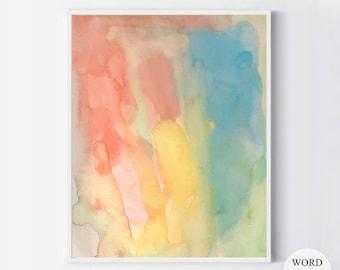 Colorful Abstract Watercolor Painting, Abstract Art Print, Pink Blue Green Purple Art Print, Minimalism Wall decor, Modern Watercolor Art,