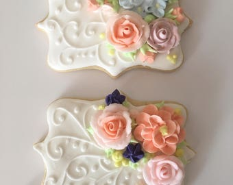Set of Two Gift Cookies, Gift Set, Gift for Her, Floral Sugar Cookies, Rose Cookies, Peach Roses, Decorated Cookies