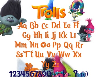 Trolls font svg|Trolls alphabet svg|Trolls letters svg,dxf for Print/Silhouette Cameo/Cricut and Many More